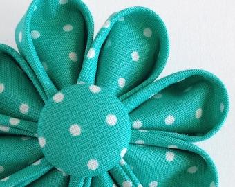 Aqua Polka Dots Brooch - Kanzashi - Boutonniere - Lapel Pin