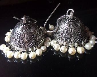 Pearl Bridal earrings,Pearl Jhumkas,Bell earrings Indian,Dome jewelry,Temple Ethnic Jewellery,Designer Jewelry by Taneesi