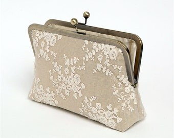 Ivory Lace Clutch, Bridal clutch, Gold Metallic Linen, Silk Clutch, Bridesmaid Gift, Wedding clutch