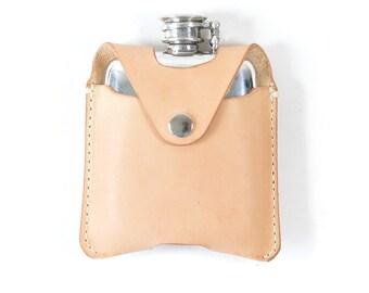 Handmade Pewter Veg Tanned Leather 4oz Hip Flask