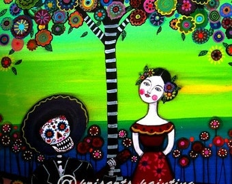 Mexican Guitar  Serenata day of the Dead Mariachi Amigos Painting PRINT by Pristine Turkus