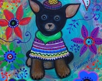 Folk Art Mexican Chihuahua Pristine Dog Dia de los Muertos Original Painting