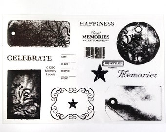 CTMH C1290 Memory Labels Close To My Heart Tag Star Celebrate Barcode Circle Distressed Clear Stamp Set Retired Unmounted Stamps USED