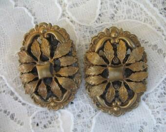 Vintage Earrings ~ Clip On ~ Intricate Brass