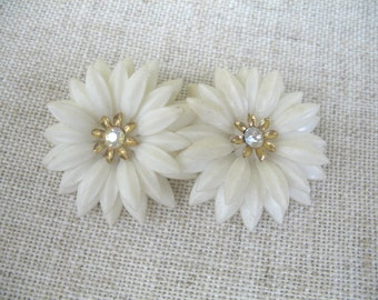 Vintage Soft Plastic & Rhinestone Earrings ~ White Flowers ~ Clip On ~ Coro