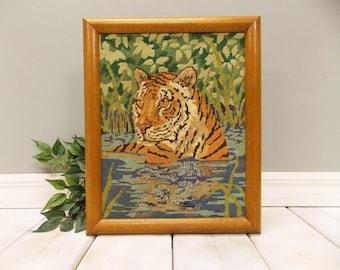 Framed Vintage Needlepoint of Wild Tiger--- Bengal Tiger in Jungle