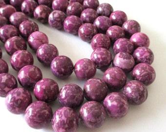 "Pink Magenta Jasper Beads - Mosaic Round  Beads - Natural Smooth Gemstone - Drilled Snake Skin Beads - 12mm - 16"" Strand - DIY Jewelry"