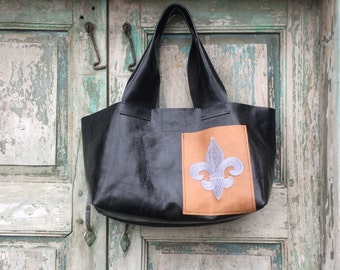Handmade Black Leather French Market Bag with Silver Gray Custom Embroidered Fleur de Lis Exterior Cell Phone Pocket