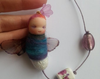 ooak Fairy Bug - clay, hanging decor, doll, gift, fantasy, home