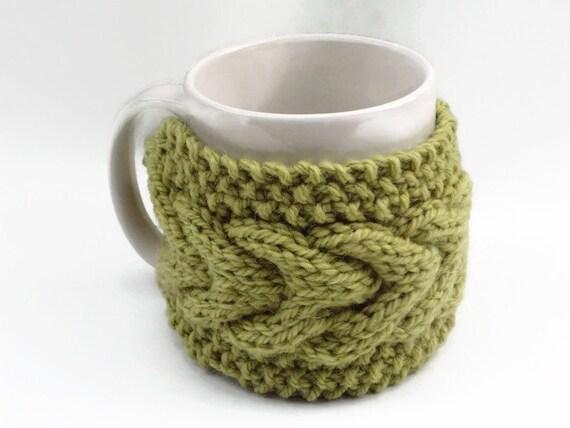 Knitted Mug Warmers Pattern : mug cozy knitted mug warmer green cup cozy