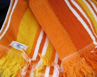 FREE S&H //  1960's TOWELS orange STRIPE ~Power!