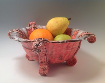 Pottery bowl/red pottery/bowl/serving bowl/red bowl/classic pottery bowl/pottery bowl/ceramic bowl/footed bowl