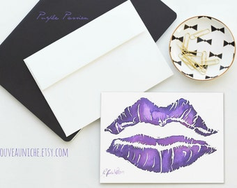 Purple Valentine Card, Kiss Print, Purple Lipstick Blank Card Purple Stationary Notecard Love Notes Purple Lovers Valentine for Her