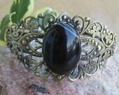 Black Agate Crystal Bracelet, Crystal Healing Gemstone Bracelet, Antique Bronze Cuff Bracelet, Medieval Renaissance Bracelet, Wiccan Jewelry
