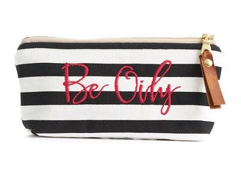 Be Oily Essential Oils Pouch in Black Stripe with Waterproof Liner