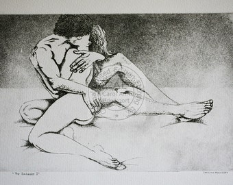 limited edition copperplate etching of an embracing couple titled 'The Embrace'.