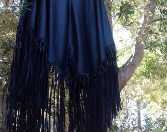 showdiva designs Asymmetrial Leather Cape Coat Poncho Tons of Fringe StUnNiNg