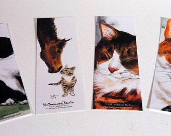 Watercolor Cat Bookmarks From Original Paintings 4 Designs