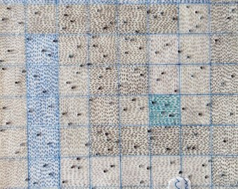 Mixed Media on Paper in Blue with with Grid Lines and Beads / The Art of Wonder, Suite 2 no.4