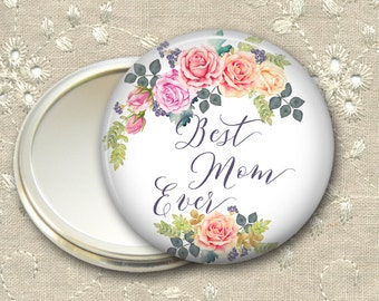 Mother's Day gift for her, rose pocket mirror, flower hand mirror, mirror for purse, compact mirror, fashion accessory MIR-1410
