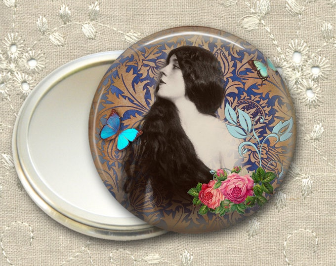 vintage lady pocket mirror,  original art hand mirror, mirror for purse, bridesmaid gift, stocking stuffer  MIR-728