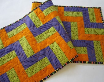 Halloween Table Runner with Purple, Green and Orange,Handmade Runner, Quilted Table Runner,  Spiders, Stars and Dots