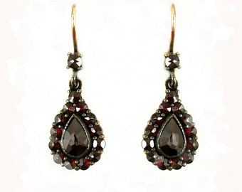Classical Bohemian garnet drop earrings || ГРАНАТ 540WPK