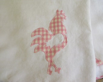 Vintage Pink Check Tablecloth, Rooster, gingham