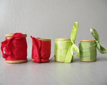 Silk ribbon, vintage wood spools, red, green