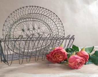 Pair of Small Vintage French Wire Baskets