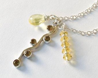 Citrine necklace sterling silver citrine jewelry wire wrapped citrine trio necklace citrine pendant citrine charm  November birthday for her