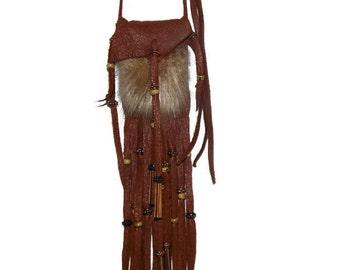 Tobacco deerskin beaver fur neck pouch medicine bag mountain man pow wow totem