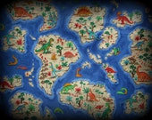 Dinosaur Island, Cotton Fabric, Childrens Fabric, Half Yard, Dinosaurs, Cotton Material, Cotton, Green Beige Red, Yellow, Joan Messmore, Cra