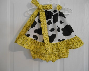 pillowcase top with ruffle and bloomer set in cowprint and bandana, gingham or solid ruffle sizes infant thru 3 design yourself