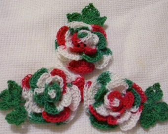 3 roses flowers Christmas holiday appliques scrapbooking sewn on home decor handmade embellishments
