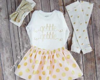 Baby girl Thanksgiving Outfit, the ORIGINAL GOBBLE GOBBLE; thanksgiving skirt and legwarmers outfit