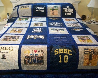 King Size T Shirt Memory Quilt, Memorial Quilt, College Quilt, Memory Quilt