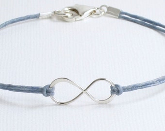 Sterling Silver Infinity Irish Linen Bracelet/Anklet/Ankle, 4th Anniversary (Linen), Cord-Denim Blue,Black,Brown,Turquoise,Red,Blue,Green