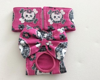 Pink Skulls - Female Dog Diaper - Dog Panty - Dog Britches - Nappy - Available in All Sizes