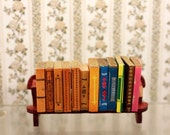 Miniature Books w Book Shelf Scale Dollhouse Library School