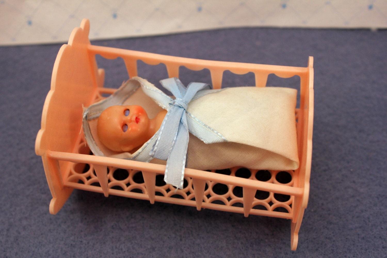 Crib Nursery Newborn Toys : Miniature toy baby doll cradle crib dollhouse nursery