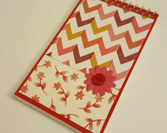 Red and Pink Floral and Chevron Mini Sprial Notebook with Dark Pink Paper Flower and Button