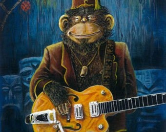 Dusty's Gig - Chimp Guitar Lowbrow Kustom Art Print Apes Monkey Tiki Bar