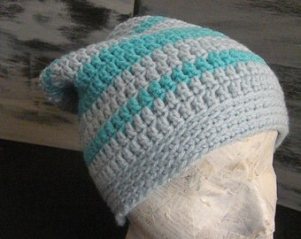 Adult Slouch Hat, Rasta Hat, Crocheted, Light Blue, Aqua Stripe, Warm