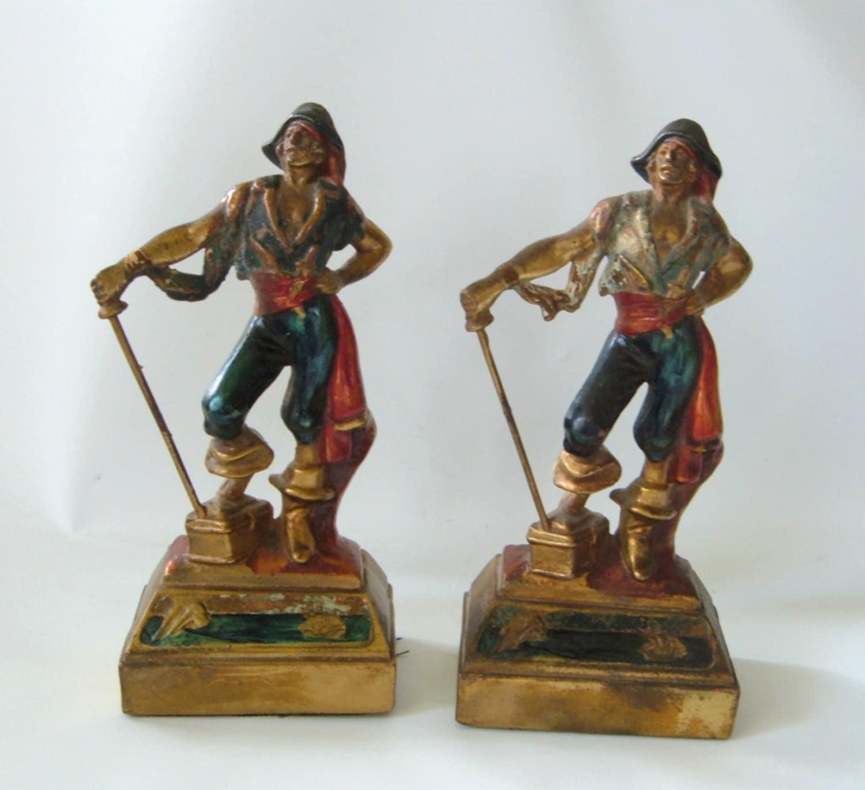 Art deco pirate bookends bronze polychrome armor clad pair - Armor bronze bookends ...