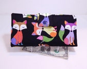 Fox Wallet, Clutch Wallet, Multicolored Foxes on Black, Vegan Wallet, Made in USA