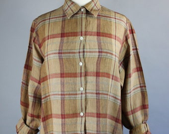 90s Women's Brown Linen Plaid Button Down Long Sleeved Spring Summer Artist Work Shirt Blouse, Size Large, FREE SHIPPING