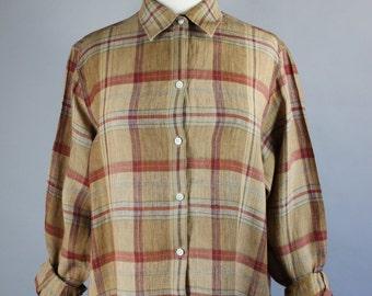 Vintage 90s Women's Brown Linen Plaid Button Down Long Sleeved Spring Summer Artist Work Shirt Blouse