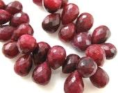 Ruby Dyed Ropada Gemstone-Semi Precious Gemstone Bead-100% Genuine Faceted Briolette Bead-Teardrop- 9 mm-Grade B -Loose Beads-309001-RUB-B