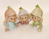 Homco Pixies - Vintage Home Interiors - Elf Pixies -  No 5615 - Shelf Sitters